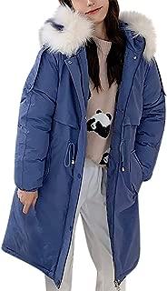 iHHAPY Women's Down Jacket Warm Winter Jacket Long Coat Parka Jacket Solid Coat Faux Fur Hood Quilted Jacket Winter Coat