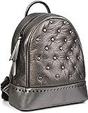 styleBREAKER Damen Rucksack Handtasche mit Nieten im Chesterfield-Stil, Reißverschluss, Tasche...