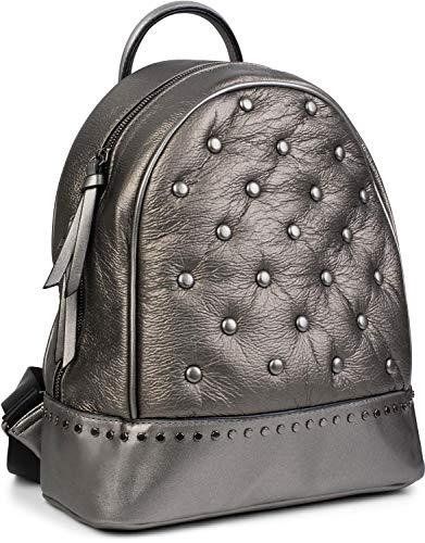 styleBREAKER Damen Rucksack Handtasche mit Nieten im Chesterfield-Stil, Reißverschluss, Tasche 02012266, Farbe:Platin metallic