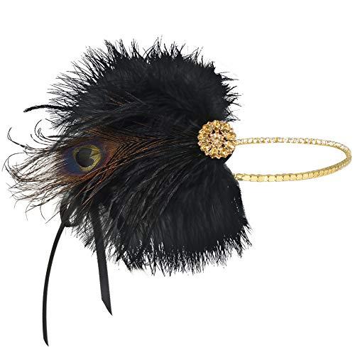 Coucoland 1920s - Fascia per capelli da donna, stile anni '20, con piume, accessorio per costume di carnevale gold Taglia unica