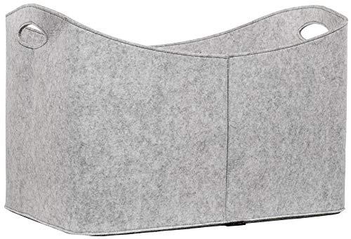 Rubberneck, Cesta XXL portalegna e portaoggetti in feltro, con impugnature, dimensioni 63x40x42 cm (Grigio)