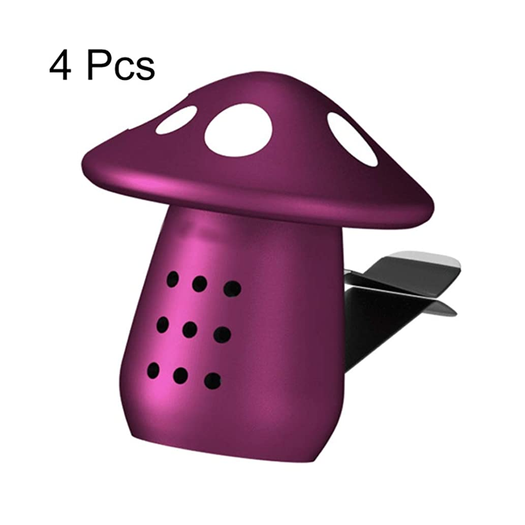責チョップ許可カーアロマセラピーエッセンシャルオイルディフューザー 4ピースかわいいキノコホーム車の芳香剤車の芳香剤ベントクリップフレグランス装飾車エッセンシャルオイルディフューザーの香り 消臭スプレー (色 : 紫の, サイズ : 4 pcs)