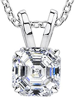 1/2-3 Carat 14K White Gold GIA Certified Asscher Cut Diamond Pendant Necklace Luxury Collection (D-E Color, VS1-VS2 Clarity)