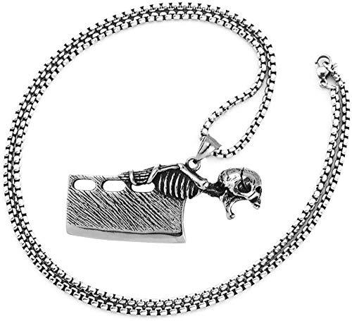 NC110 Cuchillo de Cocina Colgante Collar Punk Rock Personalizado Inoxidable Vintage Skull...