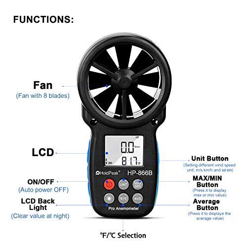 HoldPeak 866B Anémomètre Numérique pour Mesurer la Vitesse et la Yempérature du Vent,avec LCD Rétro-Éclairage & Vent Indication de Refroidissement & Max/Min (866B)