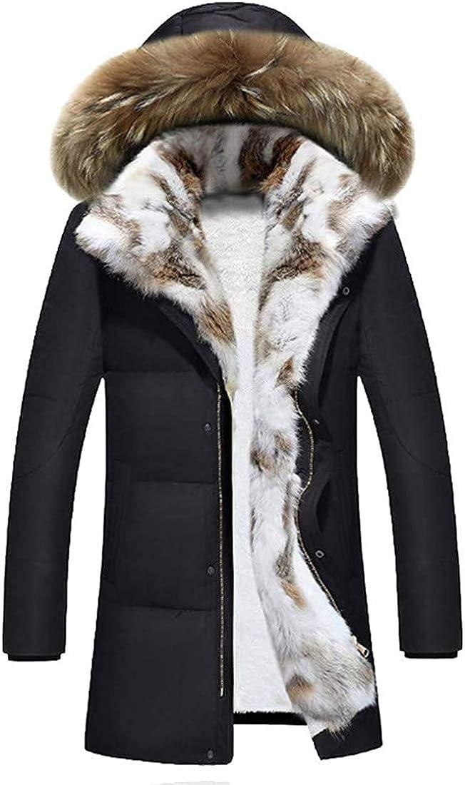 Zjeia Down Alternative Jacket, Men Winter Quilted Fur Hooded Long Anorak Parka Padded Coats Outerwear Zipper