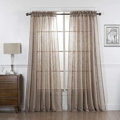 Taupe Semi Sheer Curtains 84 Inches Long, Light Reducing Sheer Privacy Curtains, Sheer Linen Curtains Window Treatment Drapes, Taupe, 2 Panels