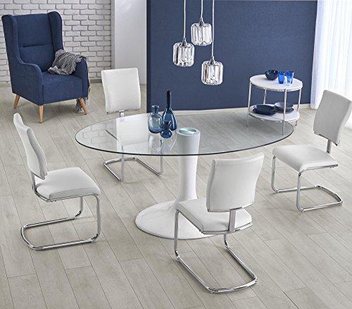 Table A Manger Ovale – L : 180 CM X P : 100 CM X H : 76 CM – Blanc/Transparent