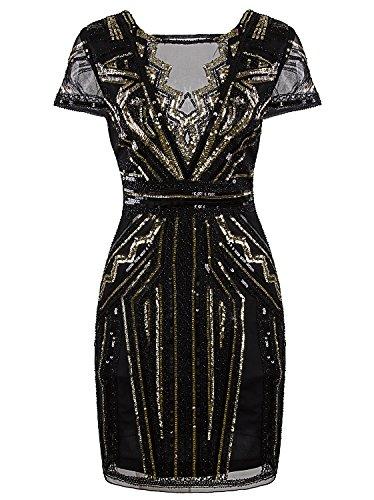Vijiv 1920s Short Prom Dresses V Neck Inspired Sequins Cocktail Flapper Dress Gold Glam Small