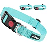 Beebiepet 2 Packs Classic Dog Collar with Quick Release Buckle Adjustable Dog Collars for Small Medium Large Dogs (L Neck 17'-26', Turquoise)
