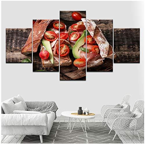NIESHUIJING poster ruimte wooncultuur tomaten groente eten brood schilderijen canvasschilderij-40x60cmx2 40x80cmx2 40x100cm geen lijst
