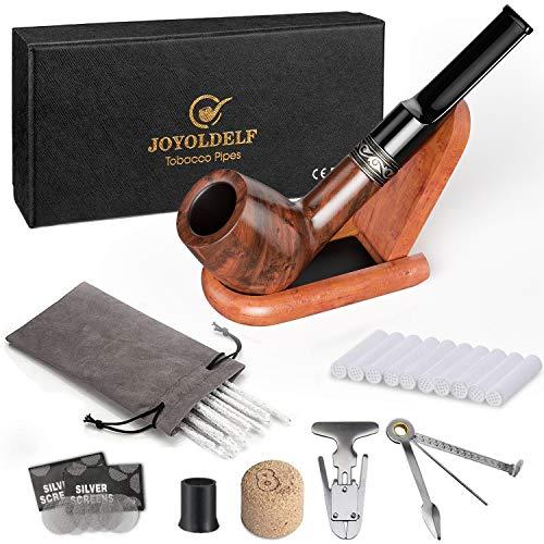 DIMJ Tabakpfeife gerade Raucher Box, Rosenholz Pfeifen Set Einschließlich faltbaren Pfeifenständer, 3-in-1-Pfeifenstopfer und andere Pfeifen Zubehör