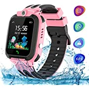 Themoemoe Kids Smartwatch Phone, Kids Waterproof Smart Watch Phone GPS Tracker with SOS Two Way Call for 3-12 Year Old Boys Girls Gift (Pink)