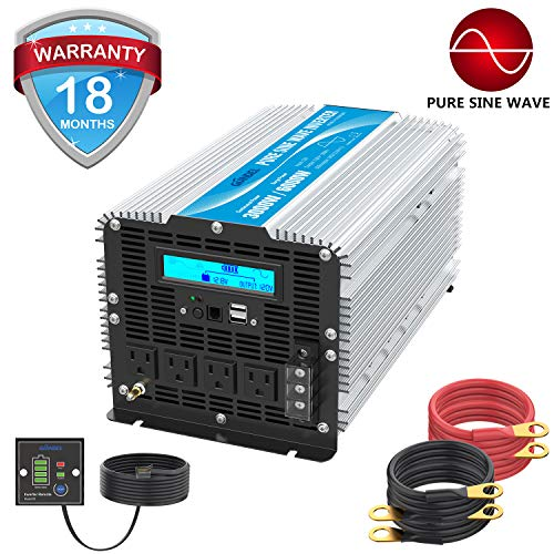 1200Watt Power Inverter 12V DC to 110V 120V AC with 20A Solar Charge Controller Remote Control Dual AC Outlets & USB Port for RV Truck Solar System