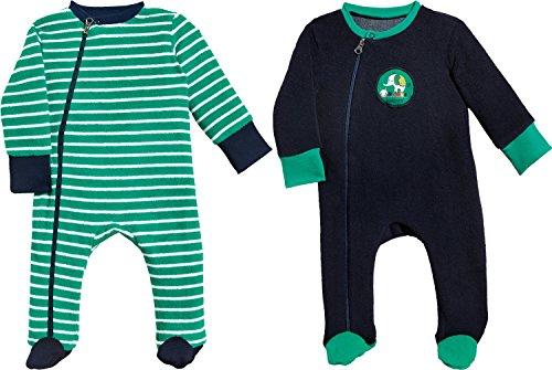 Erwin Müller Baby-Schlafanzug 2er-Pack Frottee grün/marine Größe 50 / 56