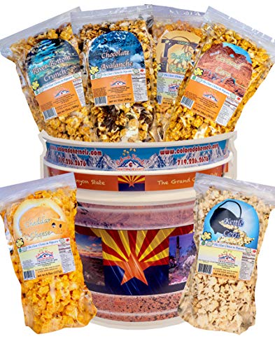 Find Discount Popcorn by Colorado Kernels Popcorn Delights | CELEBRATE ARIZONA 3.5 Gal Bucket with 6...