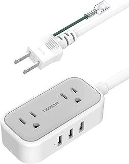 延長コード 1.5m 2個AC口 3USBポート usb コンセント アース付き TESSAN 電源タップ 小型 OAタップ 充電タップ コンパクト 電気タップ 3PIN