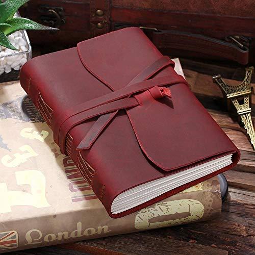 Cuaderno Diario De Cuero Cuaderno De Viaje, De Cuero Hechos A Mano Del Bound Escritura Notebook Hombres Y Mujeres, Viajes Sin Forro Diario (Color : Wine, Size : Mini 4.3x3.4 inch)