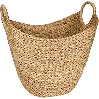 Large Woven Seagrass Storage Basket – Wicker Pattern Baskets With Braided Handles As Organizer For Blankets, Towels, Pillows, Toys, Laundry, Baby, Kids, Home Decor - Natural Water Hyacinth