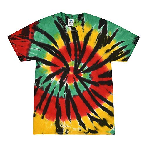 Colortone - Camiseta batik unisex «Swirl» Rasta Web. XL