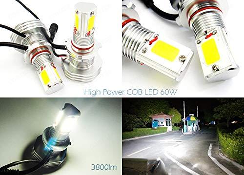 2 x Blanc 9006 HB4 ampoule CANBUS COB LED 60 W 3800LM Phare veilleuses circulation diurnes DRL lampe de brouillard