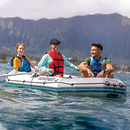 Intex Unisex– Erwachsene Schlauchboot Boot Mariner 4 Set Phthalates Free Inkl. Paddel und Luftpumpe-Professional Series, Grau, 328 x 145 x 48 cm (L x B x H) - 2