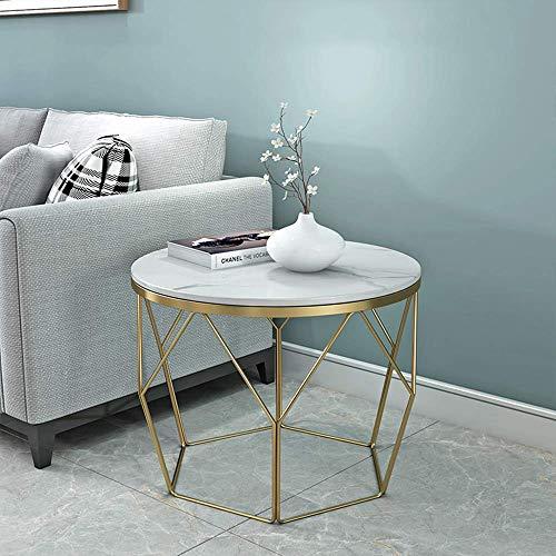 N/Z Living Equipment Beistelltisch Round D Eacute; COR Moderner Display-Beistelltisch mit Marmortischplatte und Metallrahmen für Wohnzimmer Schlafzimmer Lounge Kleiner Raum