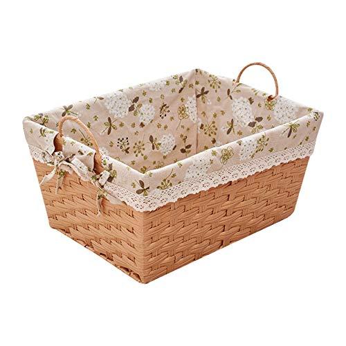 gaowei Cestas de almacenamiento tejidas a mano, cestas decorativas para el hogar, cestas de almacenamiento de escritorio tejidas con asa (tamaño: XL)