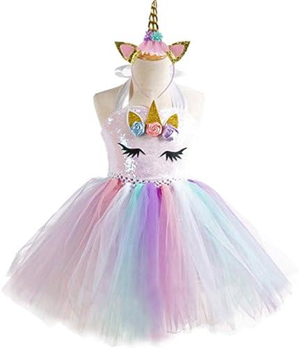 BARBEDINGröße mädchen Kleid Regenbogen Pettiskirt Prinzessin Einhorn mit Prinzessin Kostüm, Rollenspiel Party, Kostüm Prinzessin Alter 2-8 Jahre alt, Baby Kleid,2and3years