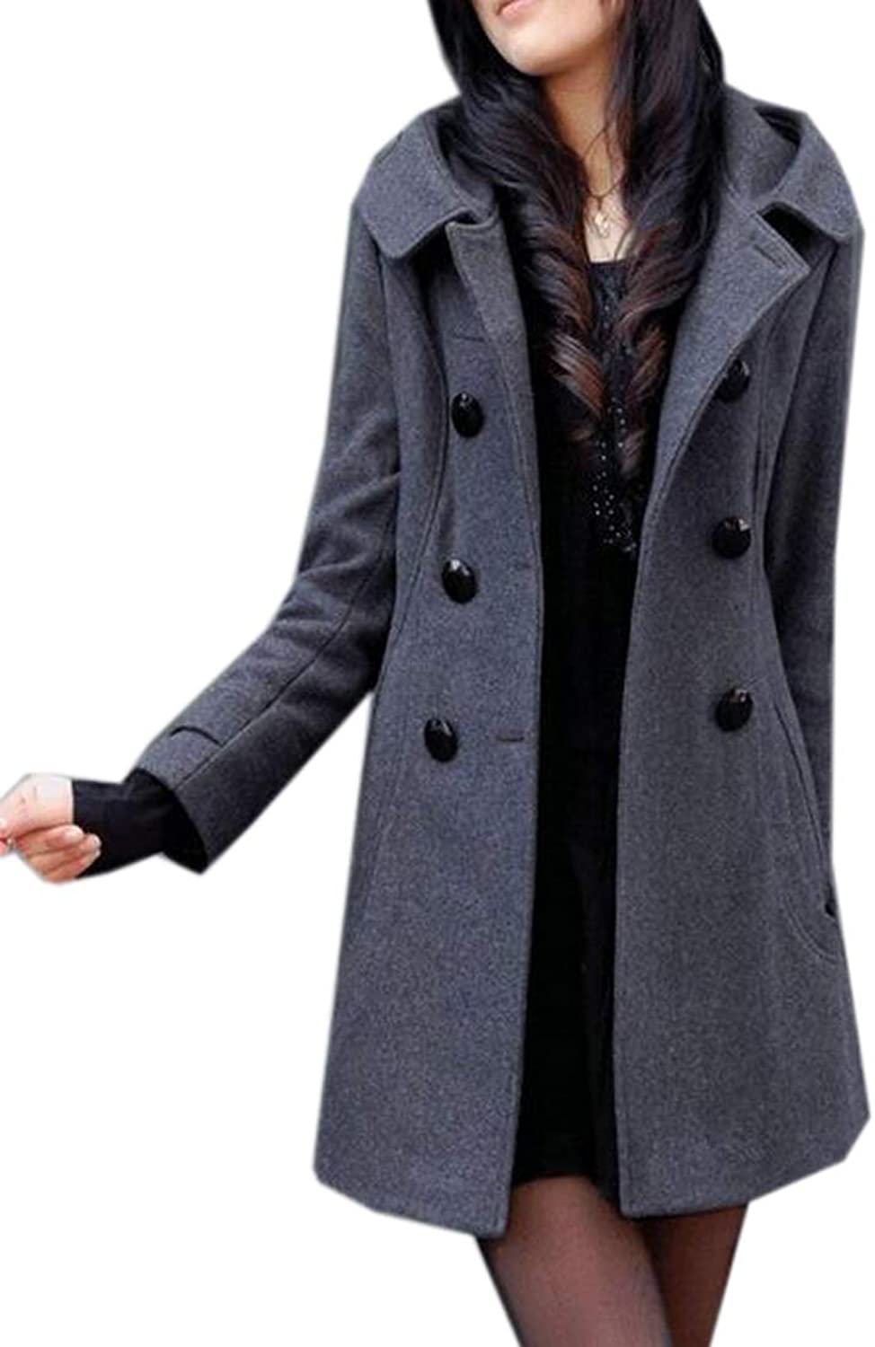 Fubotevic Womens Warm Hoodie Double Breasted Wool Blended Trench Pea Coat Overcoat
