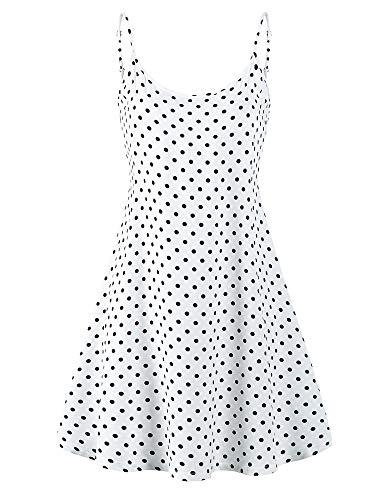 MSBASIC 90S Dress A Line Petite Tropical Dresses for Women White Polka Dot L
