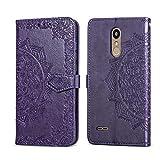 THRION LG K11 Cover, Mandala Goffratura Design Case in PU Pelle Portafoglio Cover Premium Custodia per LG K11, Viola