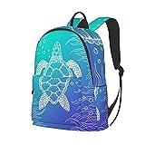Foruidea Mochila de 16 pulgadas con diseño de tortuga marina, mochila para ordenador portátil, bolsa de hombro, mochila ligera