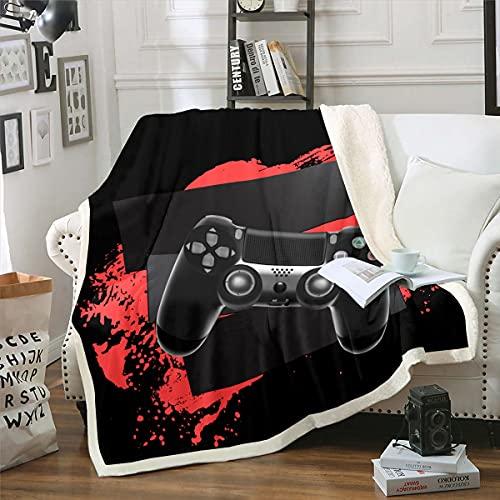 Gamer Coperta in peluche per videogiochi Gamepad Sherpa coperta per bambini ragazzi ragazze nero dorato Gaming Decor coperta coperta in pile controller di gioco copriletto singolo 150 x 150 cm