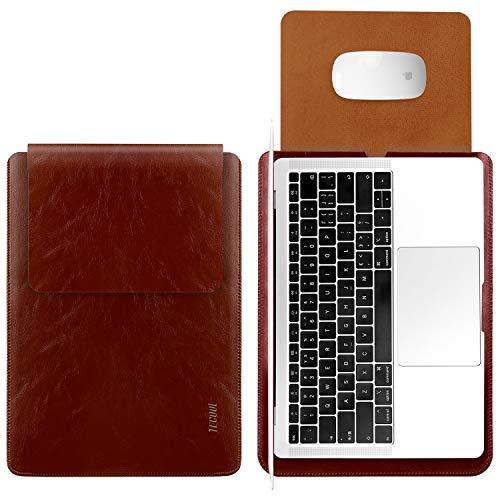 TECOOL Laptop Hülle 13,3 Zoll Tasche, Wasserdicht Laptop Sleeve Kunstleder Schutzhülle Hülle für MacBook Air 13/MacBook Pro 13, Microsoft Surface Laptop 1 2 3, MateBook D 14, Dell XPS 13 -Braun