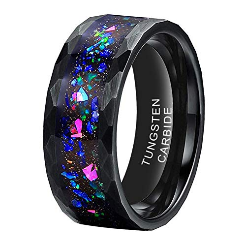 iTungsten 8mm Black Hammered Tungsten Rings for Men Women Wedding Bands Galaxy Opal Stone Inlay Matte Finish Comfort Fit