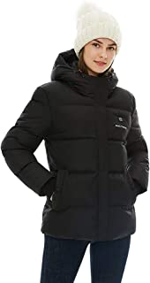 [2019 New] Women's Heated Jacket with Battery Pack, Thicken Heated Coat with Adjustable Hood Water&Wind Resistant