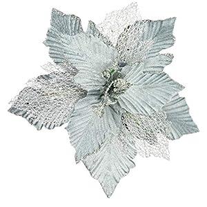KI Store Large Christmas Poinsettia 6pcs Blue Artificial Flower Picks Spray 12-Inch for Christmas Tree Decoration Wreath Garland