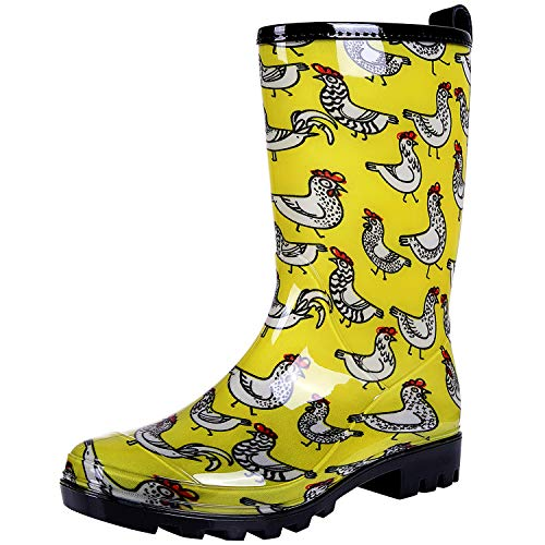 Colorxy Women's Waterproof Garden Rain Boots - Colorful Floral Printed Mid-Calf Garden Shoe Classic Short Wellies Rainboots (Chickens Yellow, Size 9)