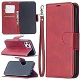 PROTECTIVECOVER+ / 12 Pro Max Retro Lámina Cordero Textura Color Pure Horizontal Flip PU Funda de cuero, con soporte y ranuras tarjetas y CINDADOR , Fashion Phone Funda Para Protector ( Color : Rojo )