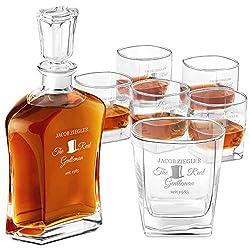 Murrano Whiskey Karaffe + 6er Whiskygläser Set - mit Gravur - Whisky Dekanter - 700ml - Geschenk zum Geburtstag für Männer - The Real Gentleman