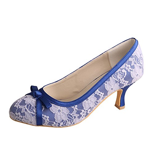 wedopus mw356Satin y Bombas de Encaje, Cerrado en los Dedos de Las Mujeres Mediados talón Bowknots para Vestido de Novia Zapatos, Color Azul, Talla 40