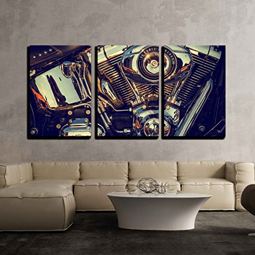 """wall26 - 3 Piece Canvas Wall Art - Close Up of a High Power Motorcycle, Classic Vintage Style. - Modern Home Art Stretched and Framed Ready to Hang - 24""""x36""""x3 Panels"""