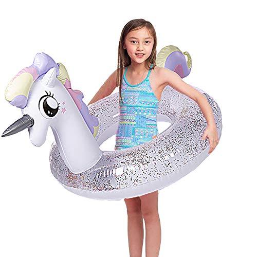 """Wishtime Flotador Inflable Gigante para Piscinas Flotador para Piscinas Unicornio de 41 """"con Brillo en el Interior, nade Innertube para niños y Adultos"""