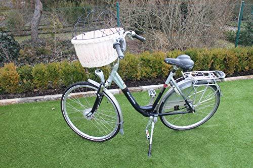 Marcus Hundefahrradkorb für Fahradlenker aus Weide mit Metallgitter und Kissen Weidenkorb Hundekorb Lenkerkorb Einkaufskorb Natur (XXL mit Kissen)