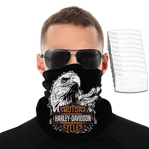 Harley David-Son Face Mask for Men Women Motorcycle Eagle Dust Adjustable Neck Gaiter Bandanas Balaclavas Masks with 10 Filters