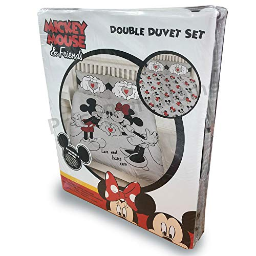 Disney Mickey & Minnie Mouse Design Double Duvet Cover | Reversible Grey Two Sided Official Love Bedding Duvet Cover With Matching Pillow Case