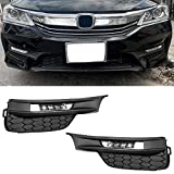 ECOTRIC High Power LED Fog Lights Compatible With 2016 2017 Honda Accord Sedan 4Dr w/ Switch, Bezel Covers & Relay Wiring