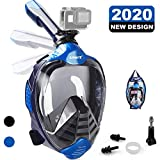 ZIPOUTE Snorkel Mask Full Face, Foldable Full Face Snorkel Mask with Detachable Camera Mount and Earplugs, 180 Panoramic View Anti-Fog...