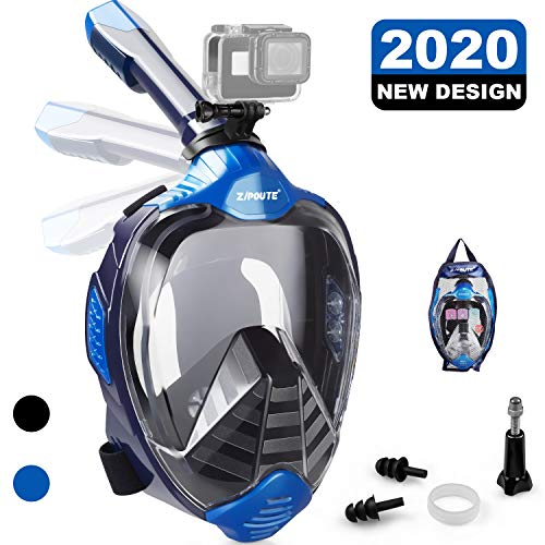 ZIPOUTE Snorkel Mask Full Face, Foldable Full Face Snorkel Mask with Detachable Camera Mount and Earplugs, 180 Panoramic View Anti-Fog Anti-Leak Snorkeling Mask for Adults (Blue, S/M)